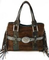 Raviani Elegant Western Fringe Satchel W/Hair on & Crocodile Leather Made In USA