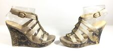 Sachelle Metallic Leather Strappy Snakeskin Wedge Sandal Size 8 Medium