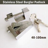 40-100mm HEAVY DUTY ANTI RUST SHUTTER PADLOCK HIGH SECURITY SHACKLE LOCK 3 KEYS