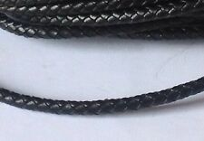 Black Braided Genuine Leather Cord. 5mm. UK Seller