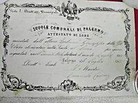 RISORGIMENTO GARIBALDI ATTESTATO DI LODE REGNO D'ITALIA  PALERMO 1865