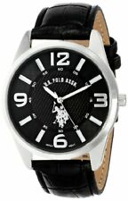 U.S. Polo Assn. Classic Mens Silver-Tone Watch W/ Leather Band