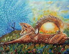 Craving Fox ORIGINAL Animals Realism Signed Oil painting by Artist Yelena Rubin