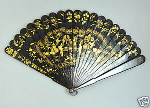 ANTIQUE CHINA CHINESE HANDFAN BRISE FAN MANDARIN QING GOLD WOOD PAINTED LACQUER