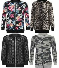 New Womens Ladies Floral Print Plus Size Long Sleeve Bomber Jacket Top 14-28