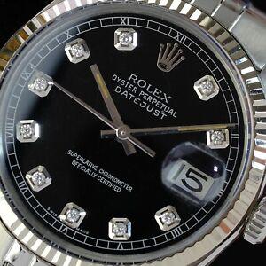 Rolex Mens Datejust Stainless Steel Black Diamond  Dial Fluted Bezel 36mm Watch