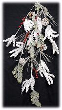 "PVC Snow Flocked Twig Red Berry Pine Cone Christmas Garland 38"" NEW XGXX1963"