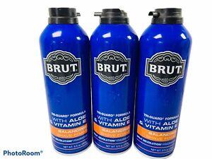🔥Lot Of 3 • Brut Revolution • Tri-Guard Balancing Shave Foam Aloe • 9.5 Oz