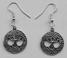 Earrings #299 Pewter Tree of Life (19mm x 21mm) - Silver Tone