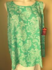 NWT FADED GLORY Womans Plus TANK TOP SHIRT BLOUSE, green/white paisley, sz 3X