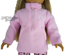"""MARKDOWN Pink Fleece Pullover Winter Jacket for 18"""" American Girl Doll Clothes"""