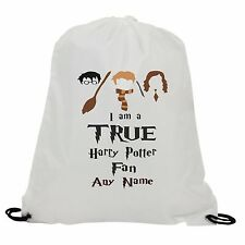 PERSONALISED IM TRUE HARRY POTTER FAN SUBLIMATION GYM SWIMMING PE DRAWSTRING BAG