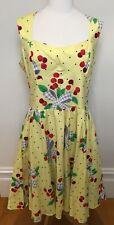 BERNIE DEXTER USA Sugar Doll Lemon Cherry Polka Dot Bows Swing Cotton Dress XL