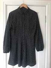 QED London Shirt Dress Black & White Polka Dots, Long Sleeves, Size 12