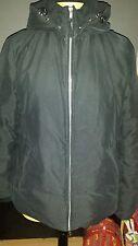 Benetton  Daunenjacke L schwarz   Mikrofaser Daunen Winter Jacke mit Kapuze