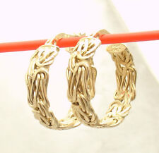 Passport to Gold Byzantine Hoop Earrings Real Solid 14K Yellow Gold