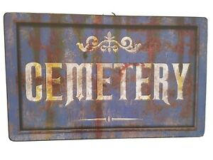 """Halloween Metal Tin Sign """"Cemetery""""  Antique Rusted Distress Ad NEW 15.5 x 9 5/8"""