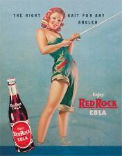 Vintage Replica Tin Metal Sign Red rock cola bait angler fish kola reel rod  288