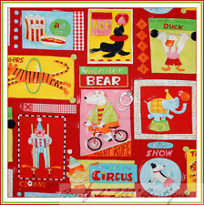BonEful Fabric FQ Cotton Quilt VTG Red Nancy Wolff ANIMAL Baby Circus KId Monkey