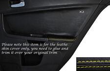 Yellow Stitch 2x POSTERIORE PORTA CARD Trim pelle copertura Si Adatta Mitsubishi Lancer Evo X 10