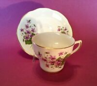 Royal Dover Teacup And Saucer - White With Purple Violets - Bone China - England