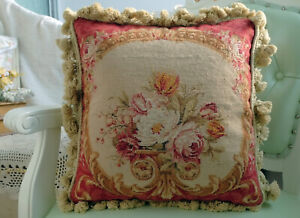 """16"""" Vintage Royal French Cottage Decor Flower Art Rose Buds Needlepoint Pillow"""