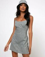 MOTEL ROCKS Valy Slip Dress in Brandy Check Foam Extra Small XS (mr15)