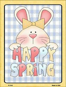 """Happy Spring Cute Bunny Metal Parking Sign 9"""" x 12"""" Wall Decor - DS"""