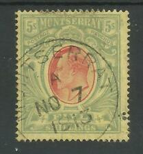 MONTSERRAT SG47 THE 1909 EVII 5/- RED & GREEN/yellow FINE USED CAT £85