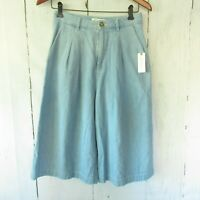 New Anthropologie Pilcro & The Letterpress Jeans 27 Denim Wide Leg Crop Gaucho