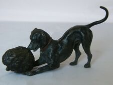 COLD PAINTED BRONZE DOG PLAYING WITH HEDGEHOG FIGURINE