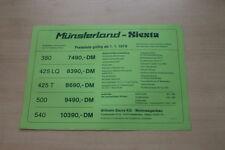 178091) Saure Wohnwagen Münsterland Siesta Preisliste Prospekt 01/1978
