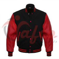 Varsity Jacket Bomber Letterman Baseball Black Wool & Red Leather Sleeves