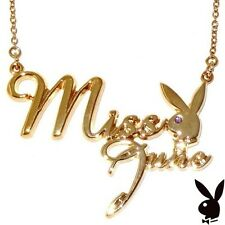 Playboy Necklace MISS JUNE Bunny Pendant Gold Plated Chain Swarovski Crystal 17
