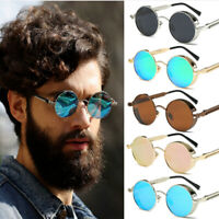 Gothic Steampunk Round Shades Design Sunglasses Men Women Metal Wrap Eyeglasses
