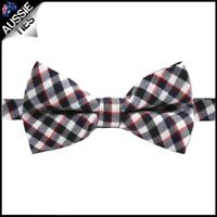Boys Black & White Check with Red Highlights Bow Tie