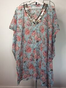 Ladies Floral Size Extra Large kaftan style Beach Coverup Sequin Detail