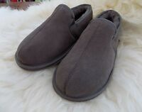 Mens Luxury Genuine SHEEPSKIN Real Suede SLIPPERS Soft Sole Grey / Taupe / Vole