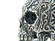 schwerer Totenkopf Ring Silber 925 Sugar Skull Mason Gothic Biker Tattoo Style