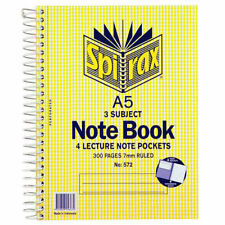 Spirax No. 572 A5 3 Subject Sprial Notebook 8 Lecture Note Book 300 pages