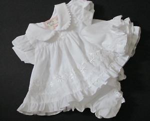 Premature Baby Girls White Embroidered Dress Knickers & Hat Prem to Newborn