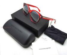 AUTHENTIC Alexander McQueen Signature Skull AM0024S Red Silver Round Sunglasses