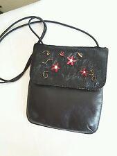 Vtg Wilsons Black Leather and Hide Embroidered Shoulder Purse