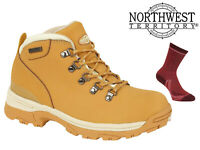 Womens Waterproof Hiking Boots NorthWest Territory Leather Walking Trek Honey
