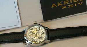 Ladies Watch Akribos XXIV AK431SS Diamond Stainless Swiss Quartz Skeleton  NEW