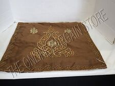"""Frontgate Silk Beaded Bed Sofa Pillow cover Case Floral Elegant Luxury 20"""" BROWN"""