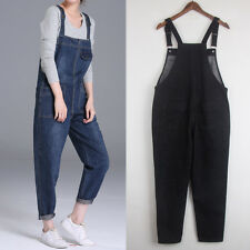 Womens Oversized Jumpsuit Strap Trousers Pants Overalls Denim Jeans Baggy Romper