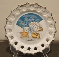 "Vintage ""Virginia Beach"" Pierced Souvenir 8-1/2""  Plate"