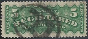 Canada    # F2  5 Cent  Registration Stamp     Used  1875  Issue