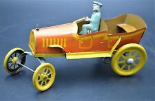 1920 Whimsical Tin Litho Trikauto F. Strauss Wind-Up Roadster Car Key & Working